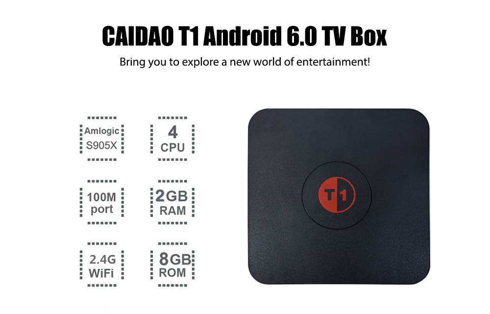 CAIDAO T1 TV Box Amlogic S905X Quad Core CPU Support for KODI 17.0 Streaming Media Player