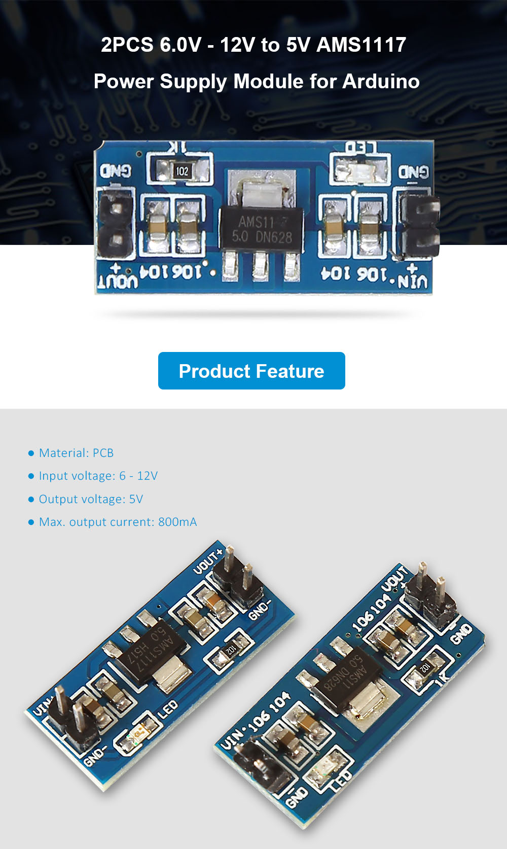 2PCS 6.0V - 12V to 5V AMS1117 Power Supply Module for Arduino