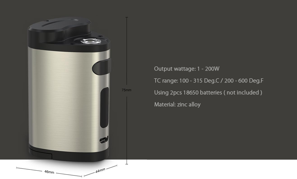 Original Eleaf Pico Dual TC Mod with 1 - 200W / 200 - 600F / 100 - 315C for E Cigarette