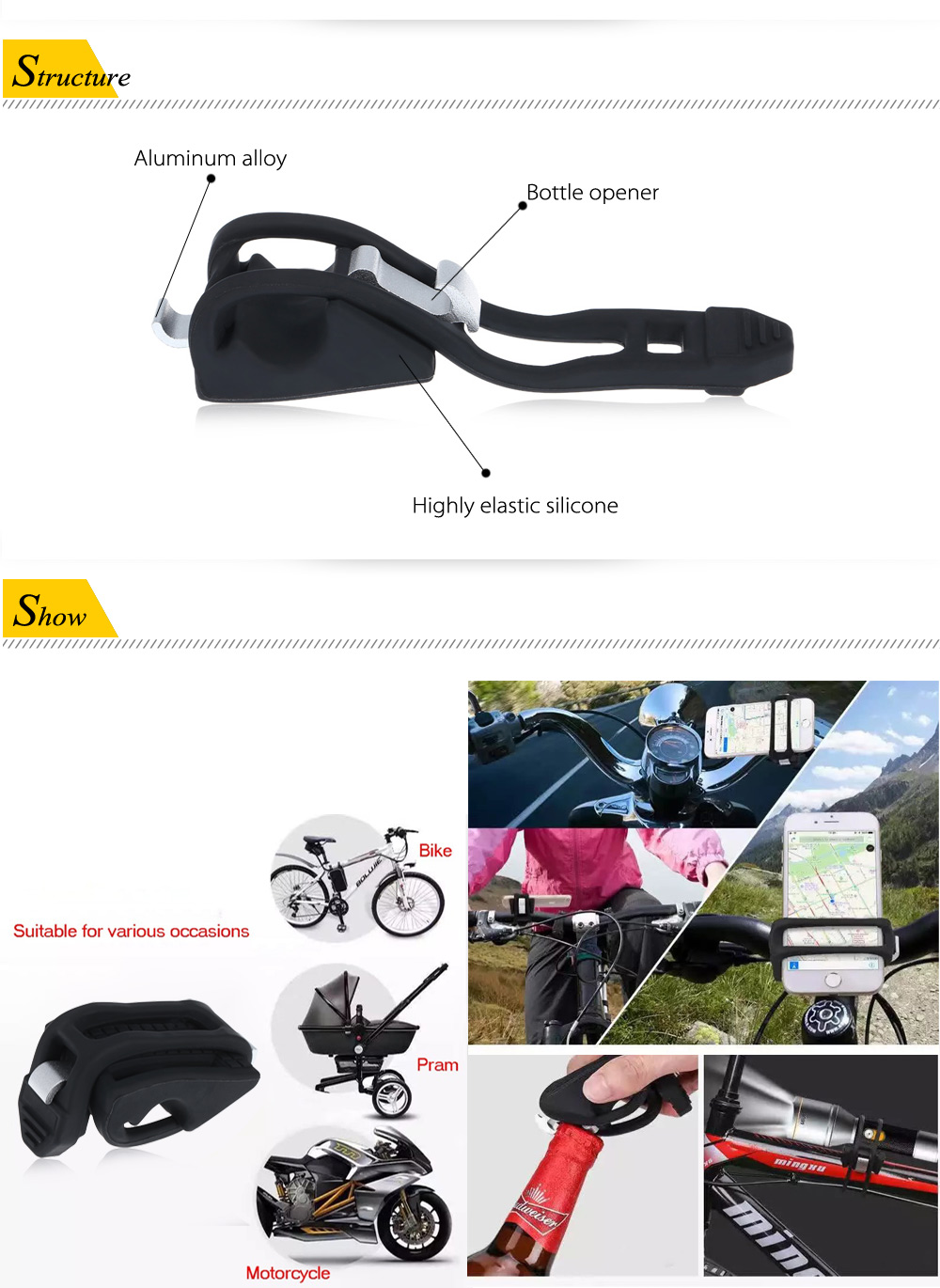 Silicone Bicycle Bike Holder for 4 - 6 inch Mobile Phone with Bottle Opener Function