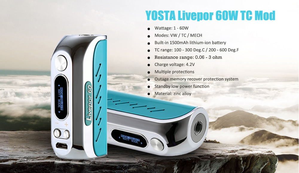 Original YOSTA Livepor 60W TC Mod with Built-in 1500mAh Lithium-ion Battery / 200 - 600F / 100 - 315C for E Cigarette