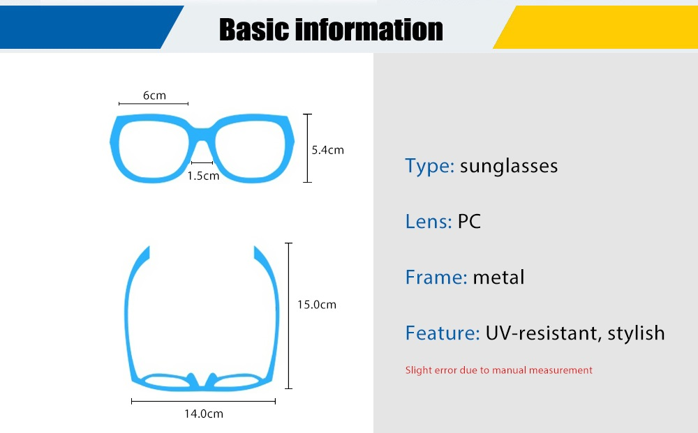 818 UV-resistant Sunglasses Eyewear with PC Lens / Metal Frame