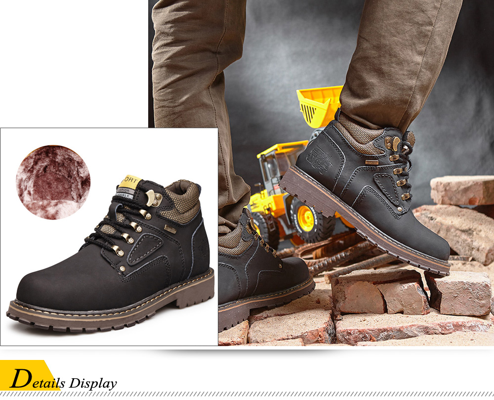 Outdoor Water-resistant Genuine Leather Fleece Lined Hiking Boots Mountaineering Shoes