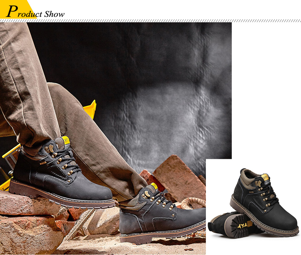 Outdoor Water-resistant Genuine Leather Hiking Boots Mountaineering Shoes