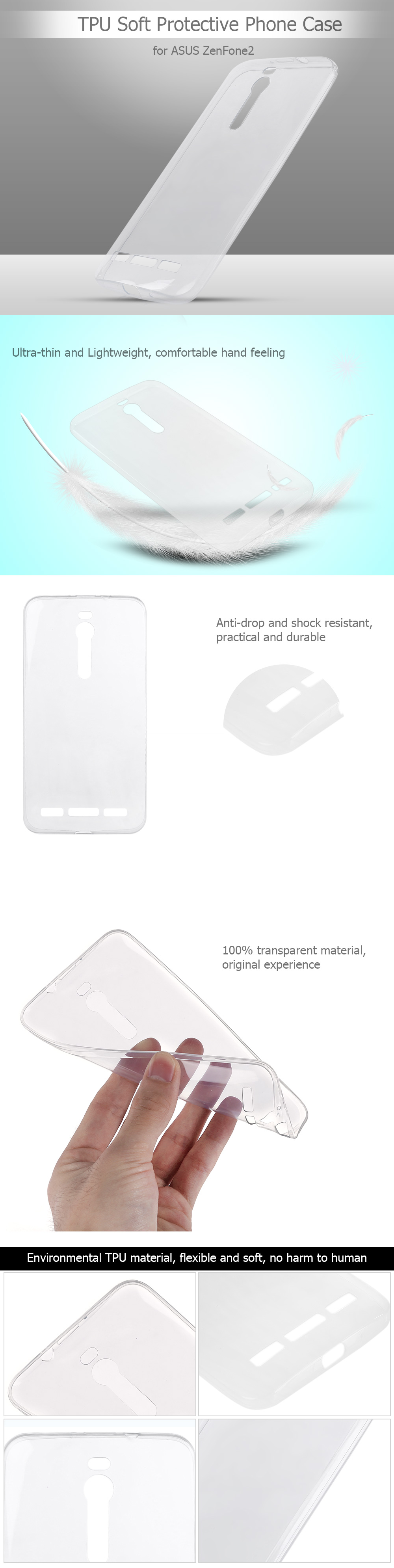 Original ASUS Transparent TPU Soft Case Protective Cover Phone Protector for ZenFone2