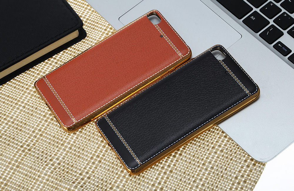 Luanke Electroplating TPU Case Protector for Xiaomi 5S Pretended Leather Pattern
