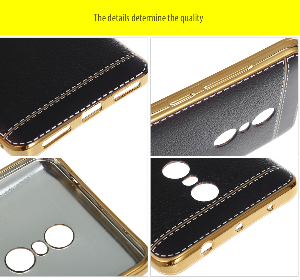 Luanke Electroplating TPU Case Protector for Xiaomi Redmi Note 4 Pretended Leather Pattern