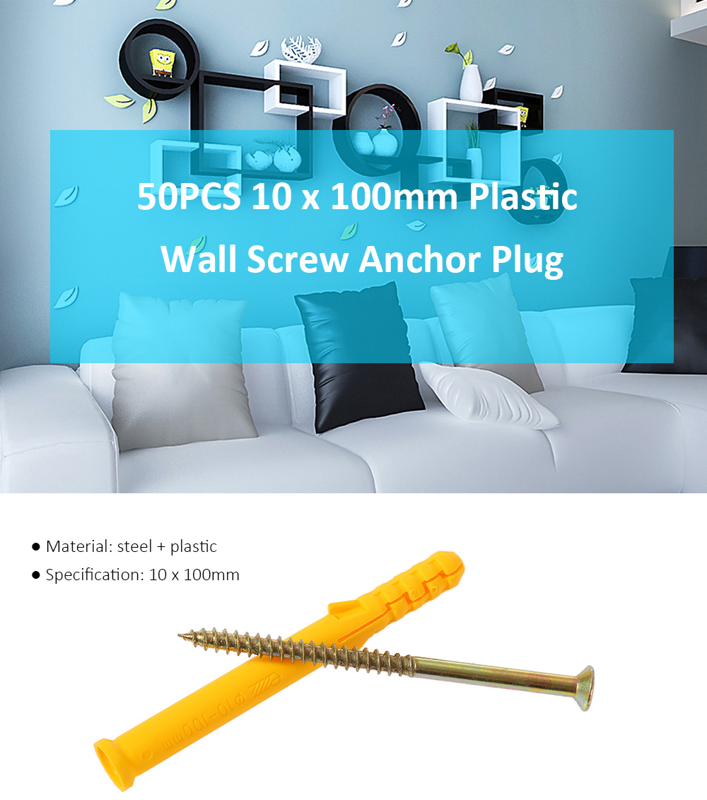50PCS 10 x 100mm Self-drilling Drywall Anchor with Screw