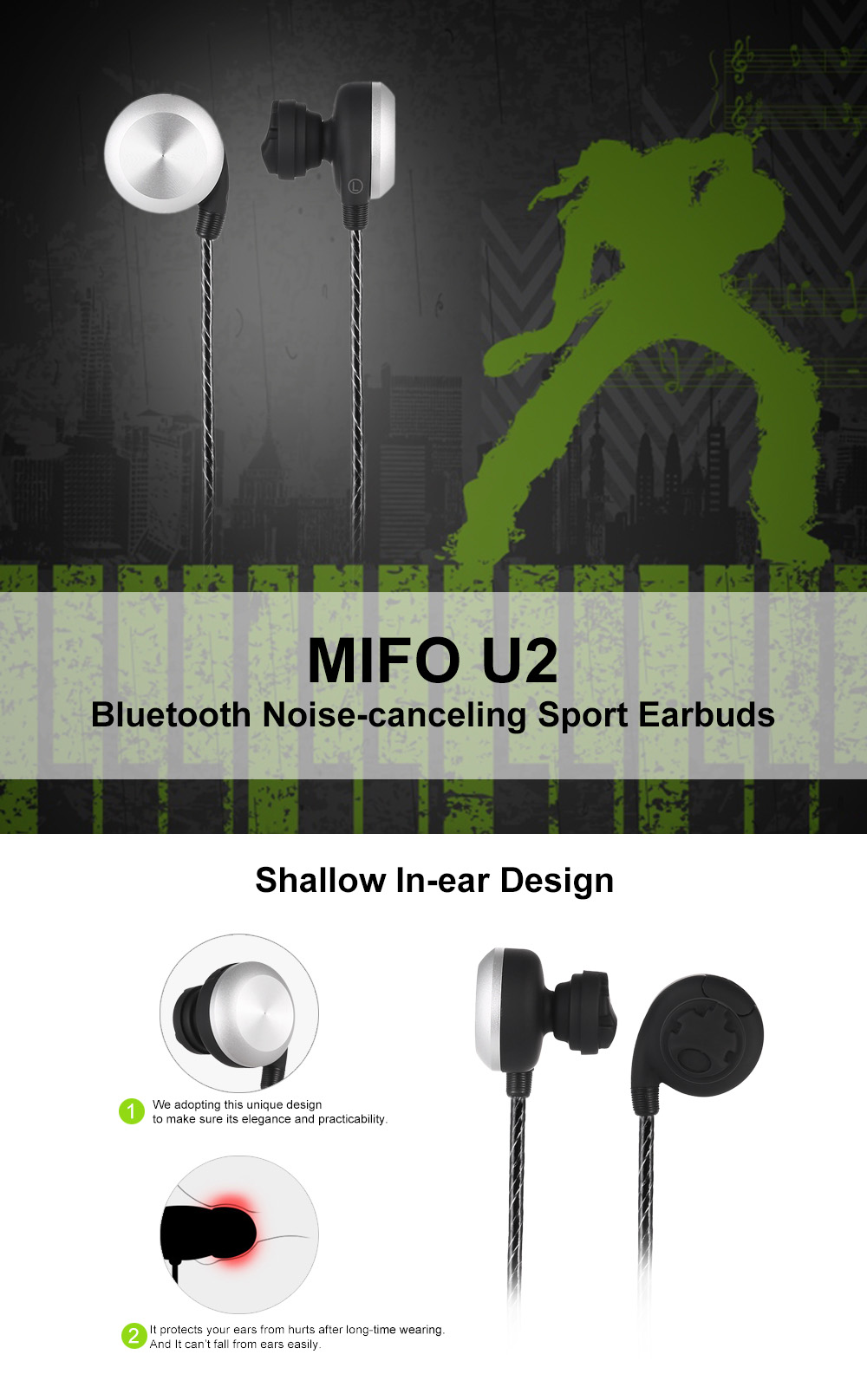 MIFO U2 Magnetic Noise-canceling Bluetooth Earbuds for Sport
