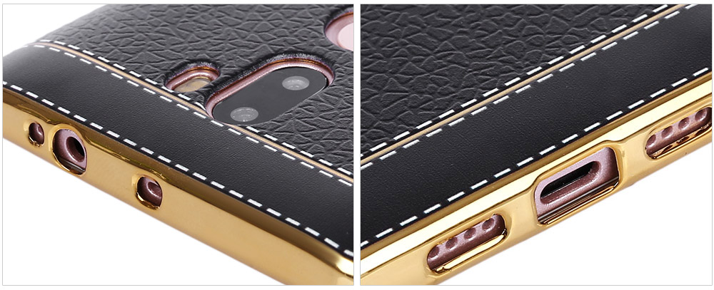 Luanke Electroplating TPU Case Protector for Xiaomi 5S Plus Pretended Leather Pattern