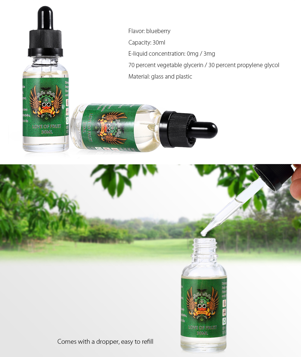 HY Love of Fruit Blueberry Flavor 30ml E-liquid / E-juice for E Cigarette