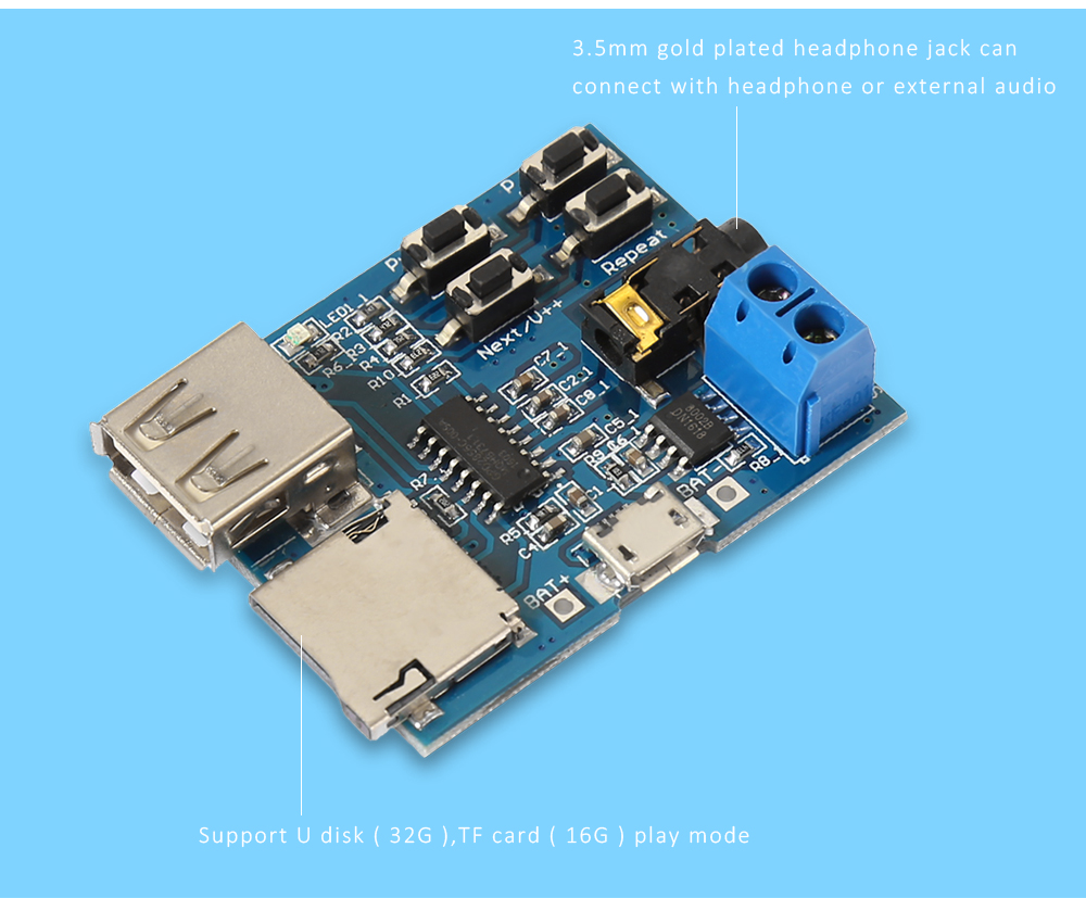 Lossless MP3 Decoder Board with Amplifier