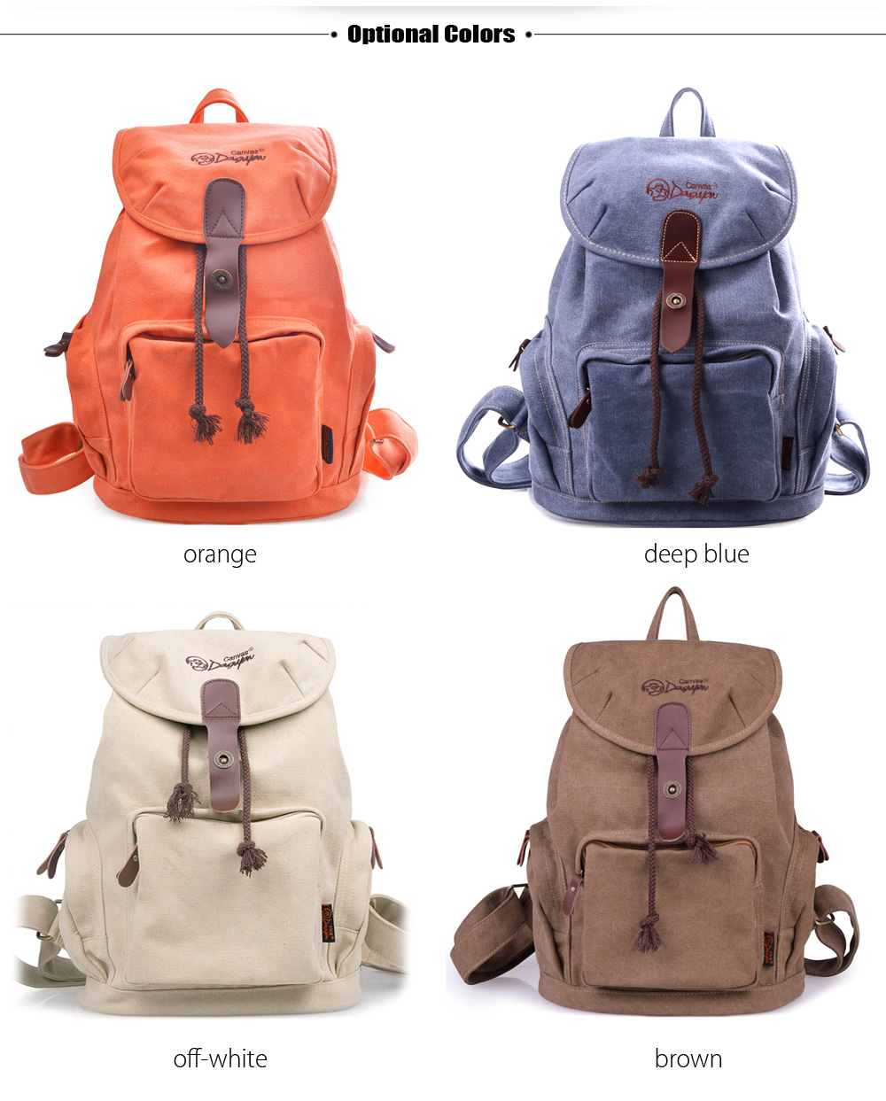 Douguyan 13 inch Solid Color Canvas Laptop Backpack Leisure Travel Bag