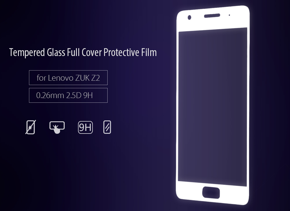 Luanke Tempered Glass Full Cover Screen Film for Lenovo ZUK Z2 Ultra-thin 0.26mm 2.5D 9H Explosion-proof Protector