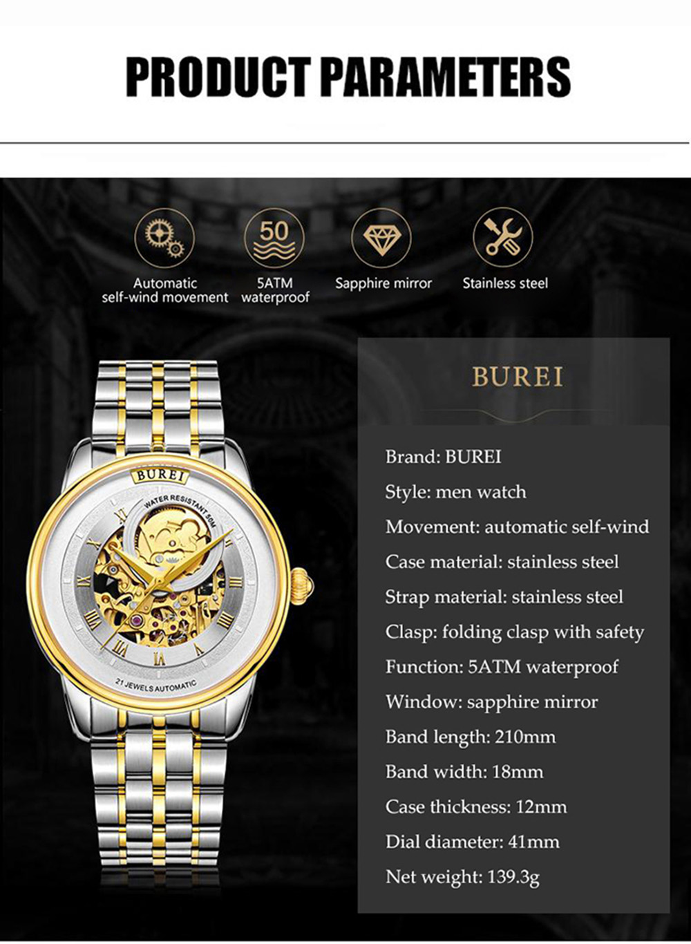 BUREI 1222 Casual Male Automatic Mechanical Watch Sapphire Mirror Stainless Steel Strap Wristwatch