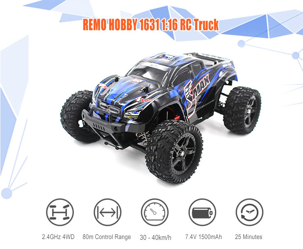 REMO HOBBY 1631 1:16 4WD RC Brushed Truck RTR 30 - 40km/h / Water-resistant ESC