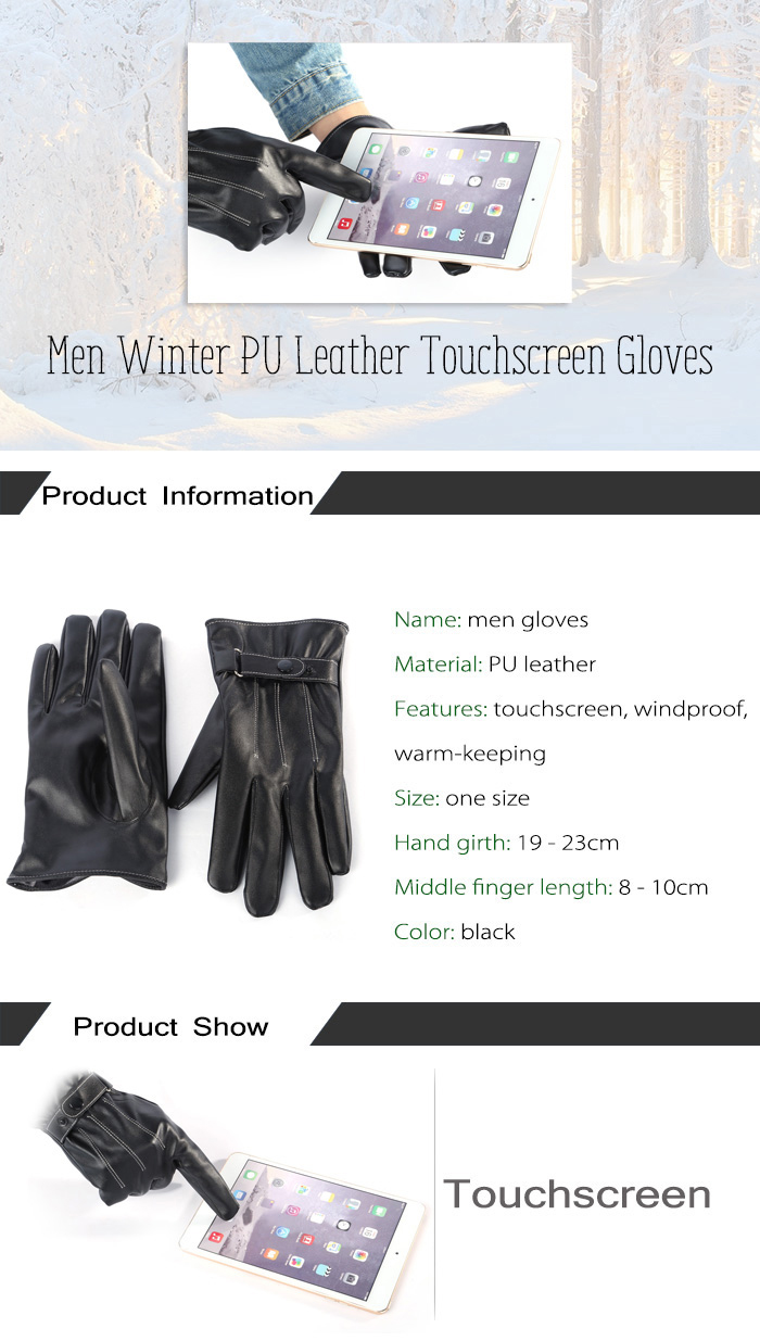 Men Winter PU Leather Touchscreen Gloves for Cycling