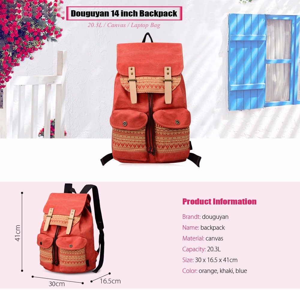 Douguyan 14 inch Geometric Pattern Canvas Laptop Backpack Leisure Travel Bag