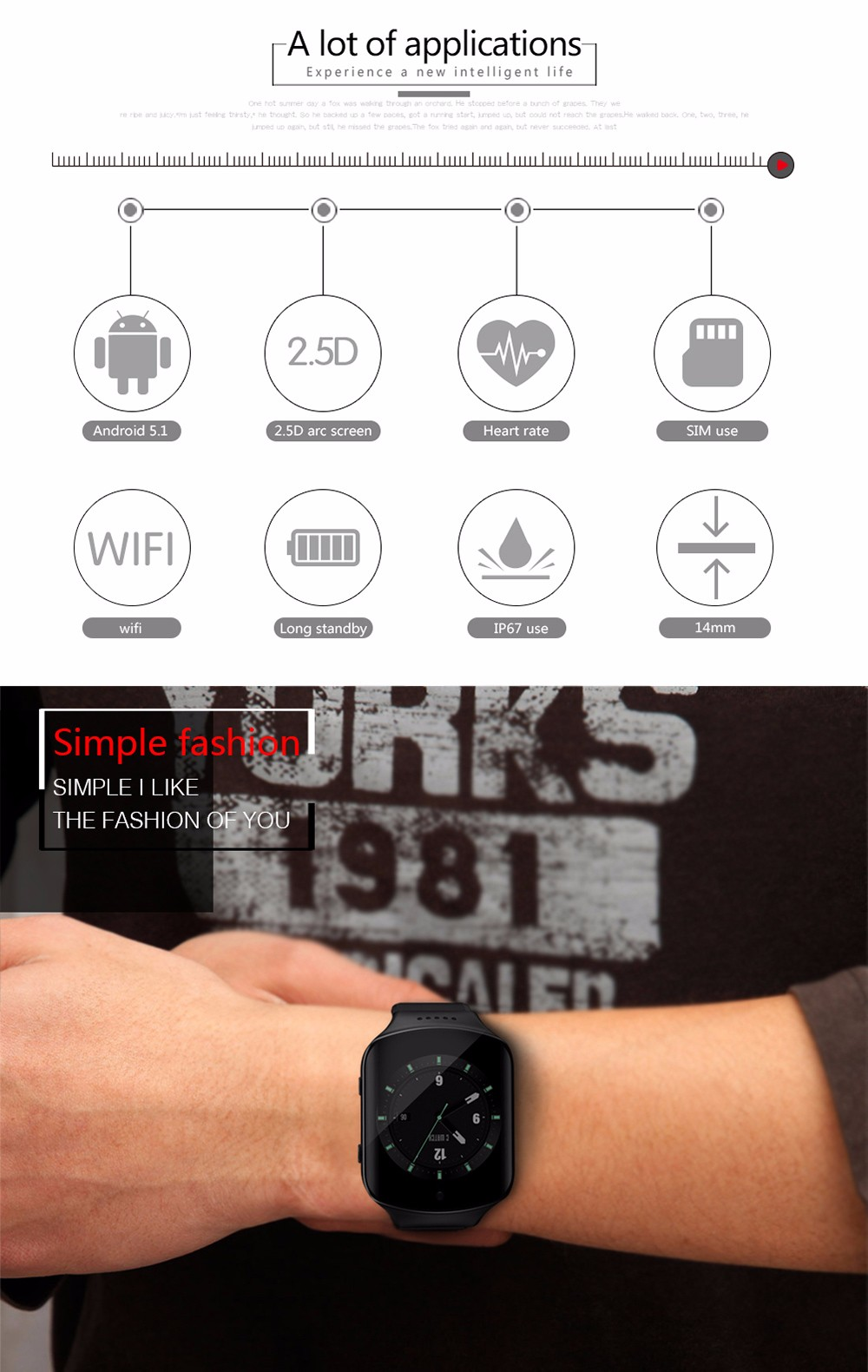 Z80S 1.54 inch Android 5.1 3G Smartwatch Phone MTK6580 Quad Core 1.3GHz 4GB ROM Pedometer Bluetooth GPS