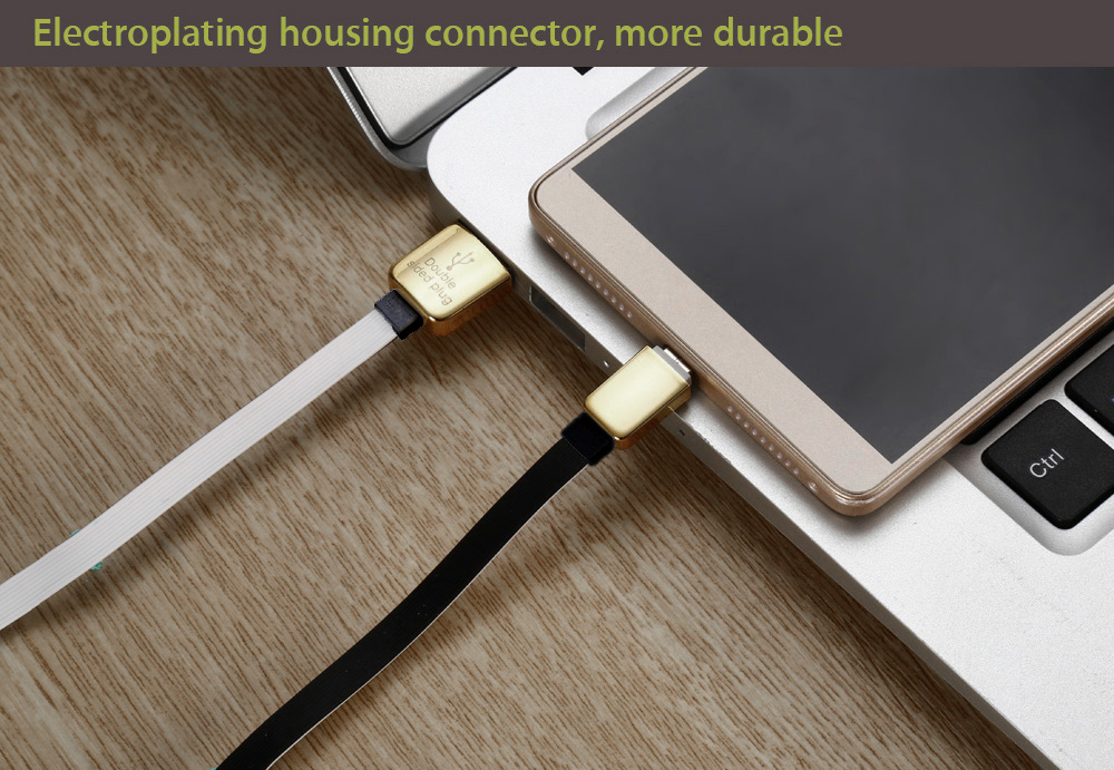 100cm Double Sided Micro USB 8 Pin Data Sync and Charging Cable with Electroplating Housing