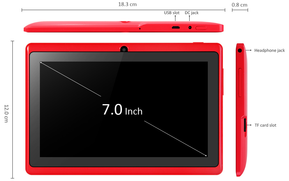 Q88H 7.0 inch Android 4.4 Kid Tablet PC WVGA Screen A33 Quad Core 1.3GHz 512MB RAM 8GB ROM WiFi