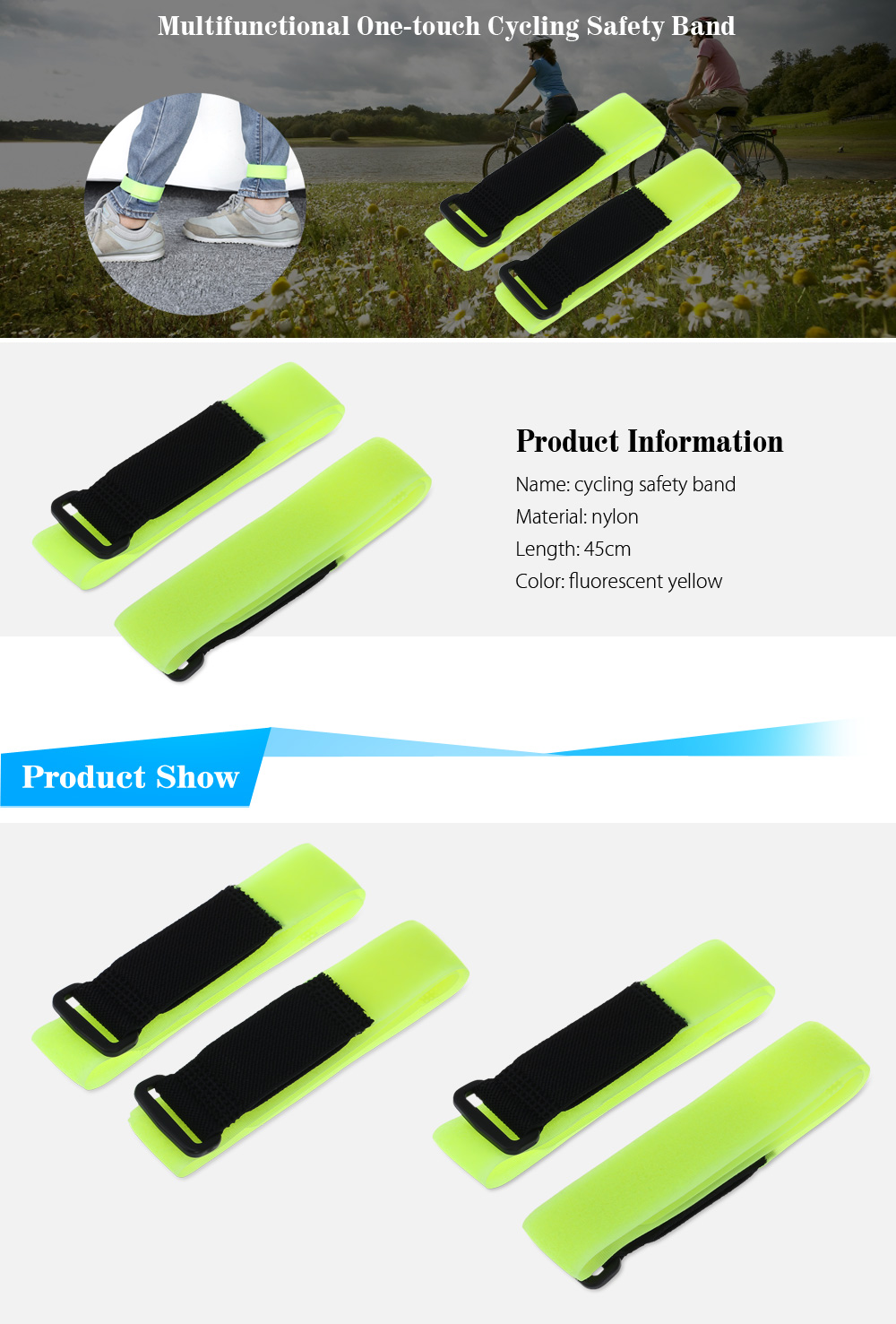 2pcs Multifunctional One-touch Cycling Safety Bands Leg Restraint Nylon Belts