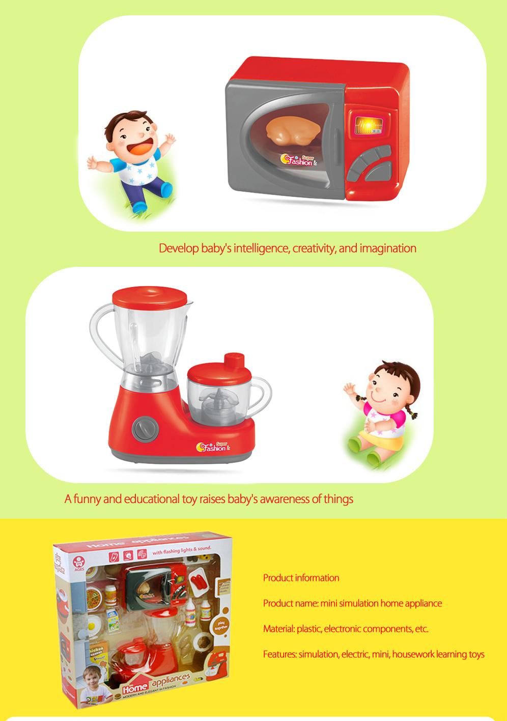 Electric Simulation Appliance Set Educational Household Gift