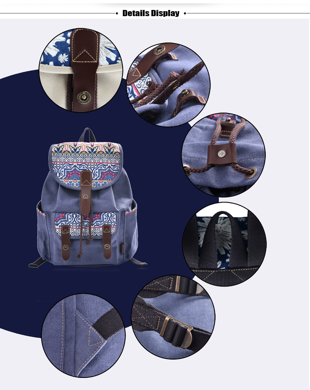 Douguyan Preppy Floral Print Canvas Backpack Refresh Students Bag