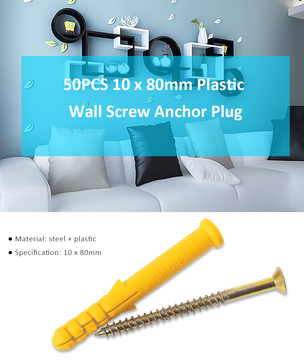 50PCS 10 x 80mm Self-drilling Drywall Anchor with Screw