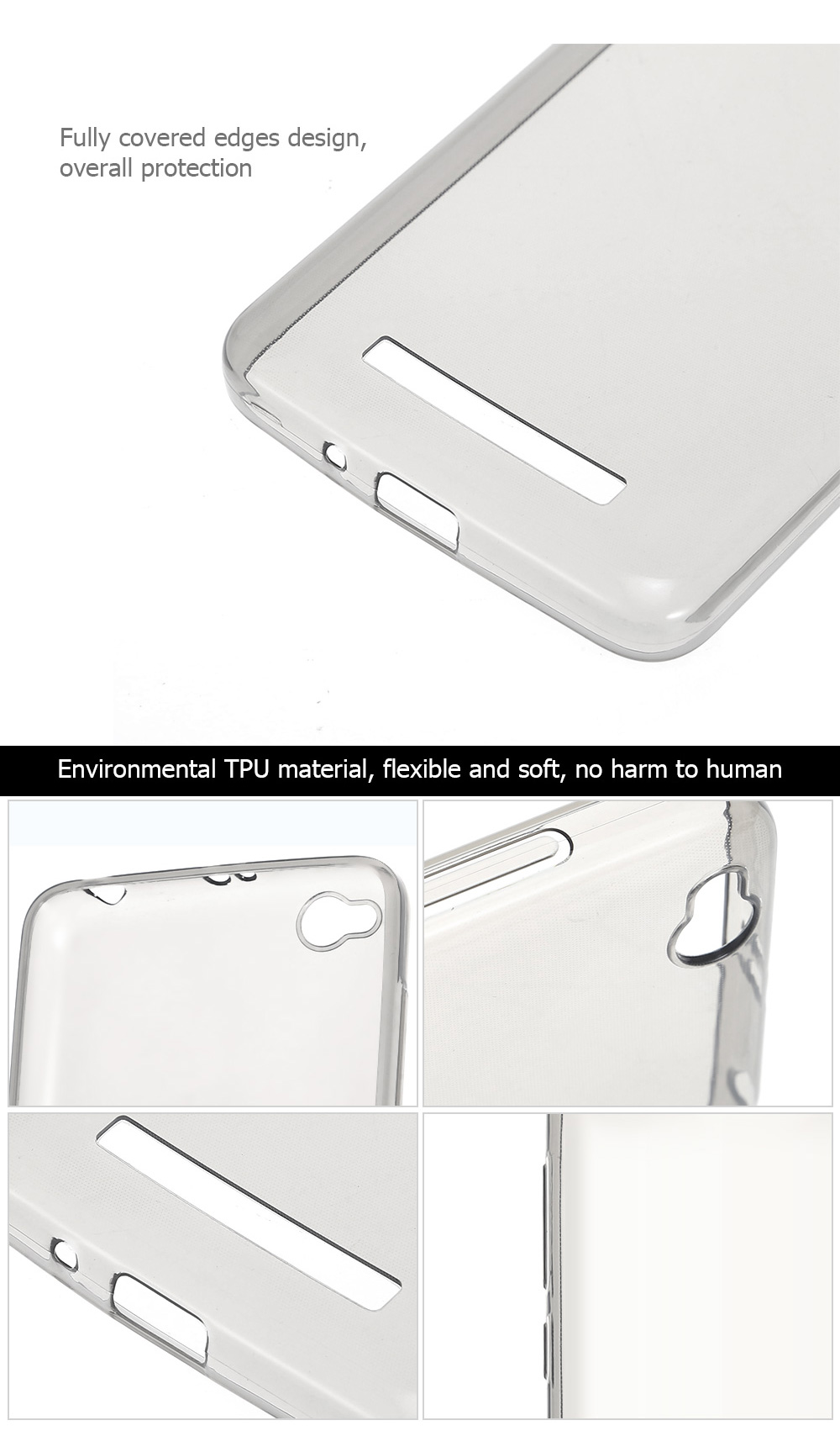 Transparent TPU Soft Case Protective Cover Phone Protector for Xiaomi Redmi 4A