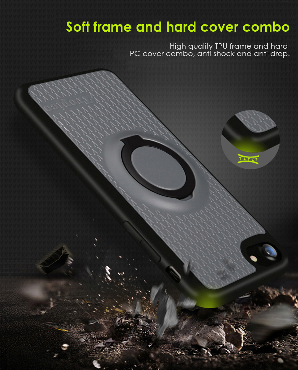Benks TPU Soft Case Protector for iPhone 7 Plus Ring Holder Magnetic Stand