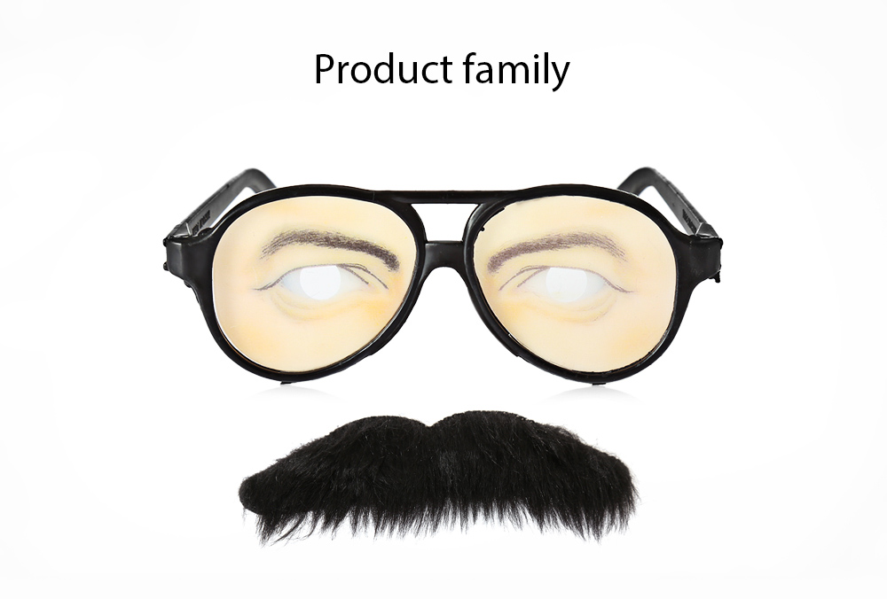 Self-adhesive Mustache + Eye Glasses Set for Party / Carnival Trick Toy