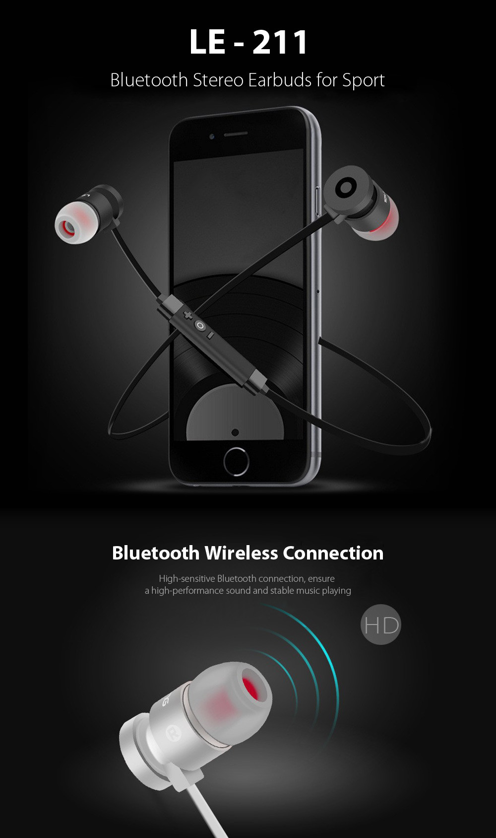LE - 211 Bluetooth Stereo Earbuds for Sport