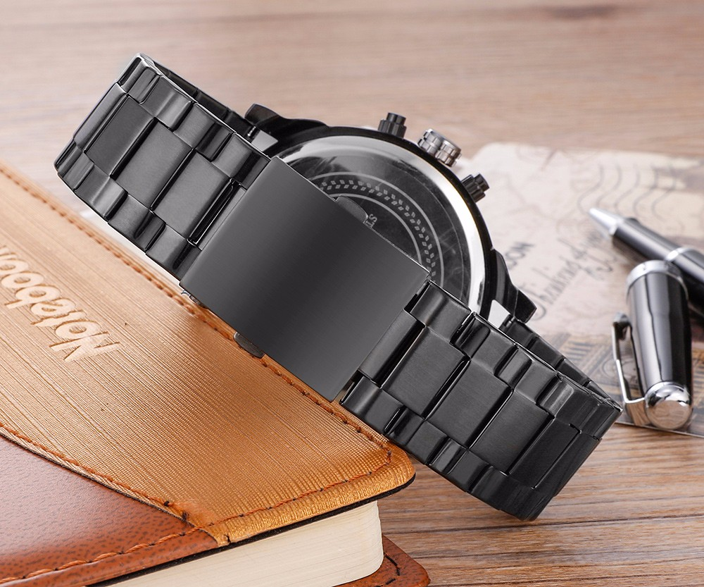 Cagarny 6820 Date Function Double Movt Black Case Male Quartz Watch with Decorative Sub-dial Steel Strap