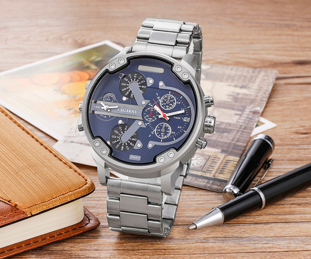 Cagarny 6820 Date Function Double Movt Silver Case Male Quartz Watch with Decorative Sub-dial Steel Strap