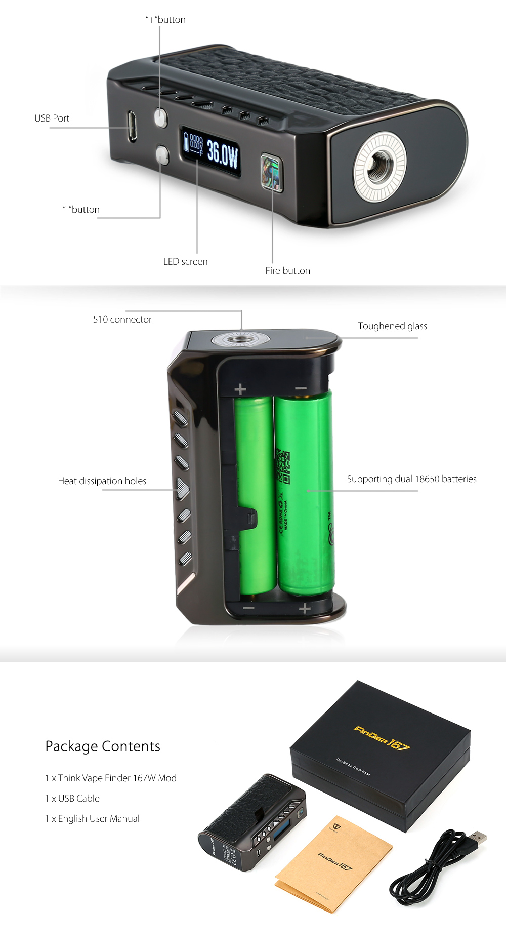Оригинал Think Vape Finder 167W Мод