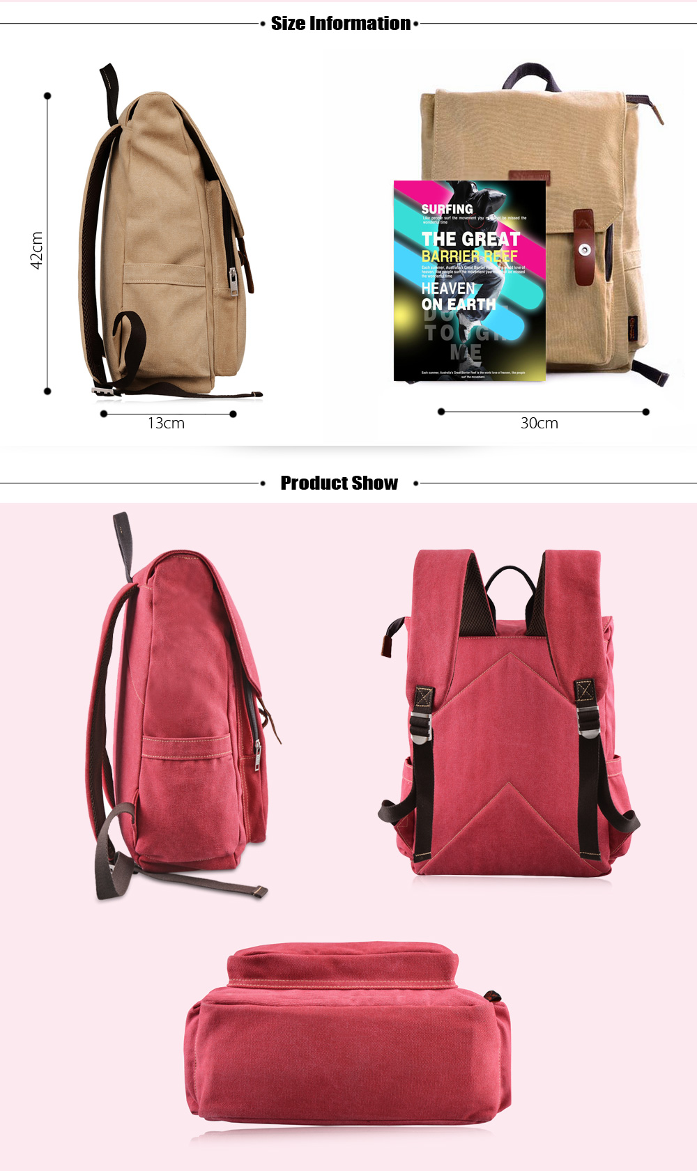 Douguyan 14 inch Canvas Logo Patched Backpack Leisure Travel Laptop Bag