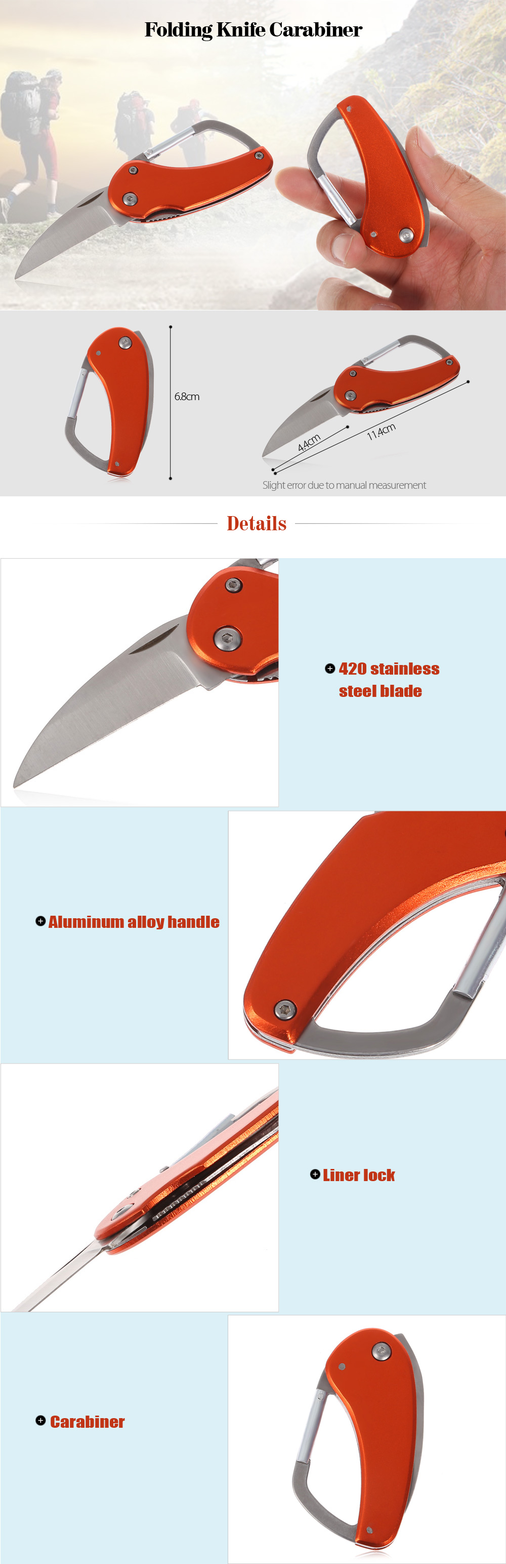 420 Stainless Steel Folding Knife Carabiner with Aluminum Alloy Handle