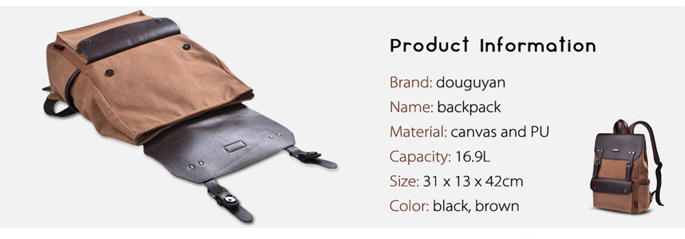 Douguyan 15.6 inch Canvas PU Splicing Backpack Leisure Travel Laptop Bag