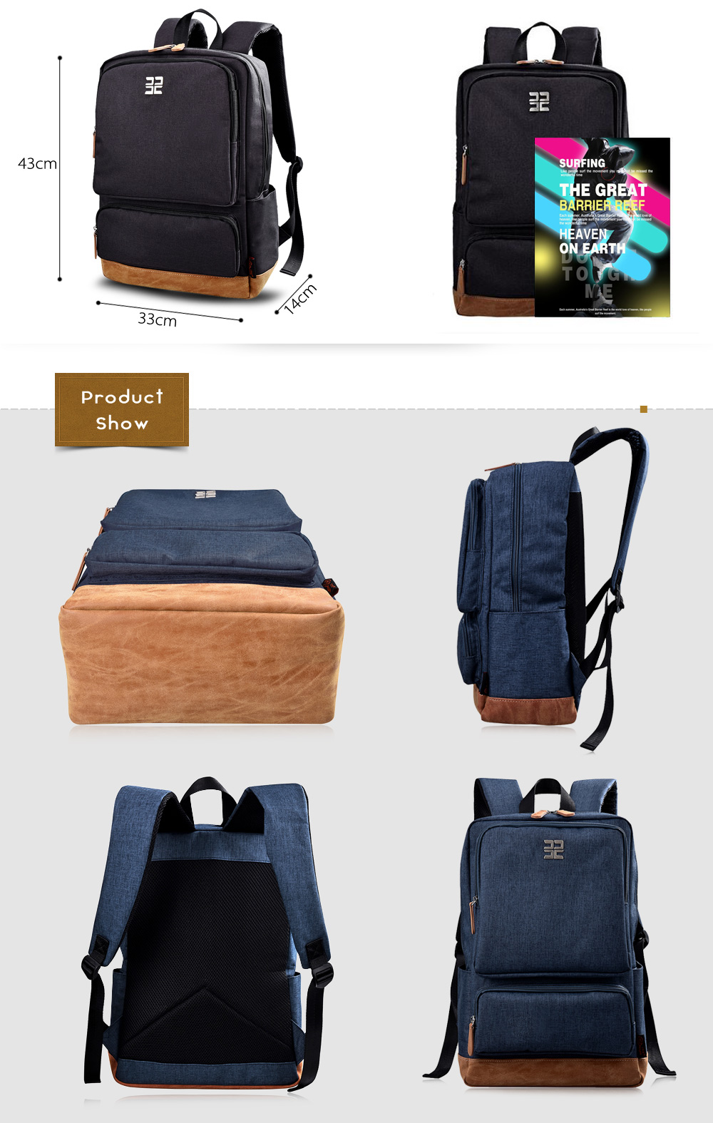 Douguyan 15.6 inch Nylon Laptop Backpack Business Travel Bag