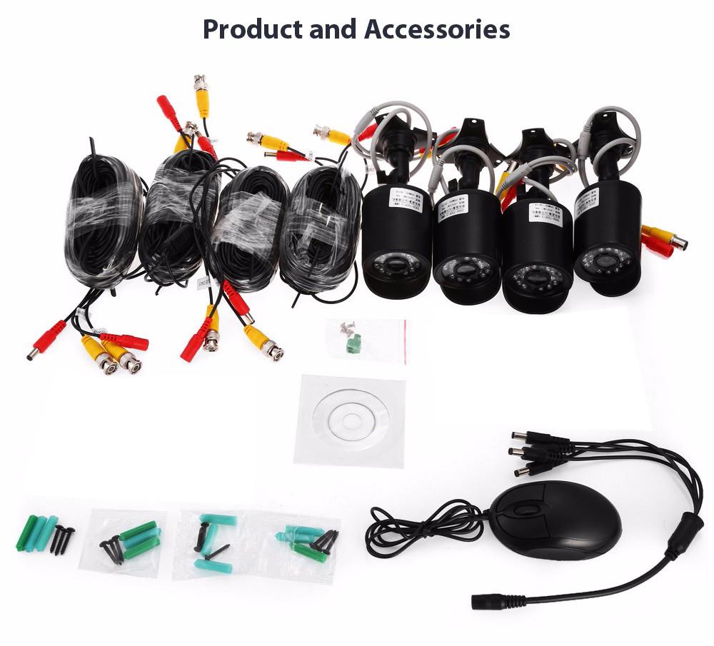 TP1004BS 720P 4 Channel AHD DVR Kit with 4 Cameras