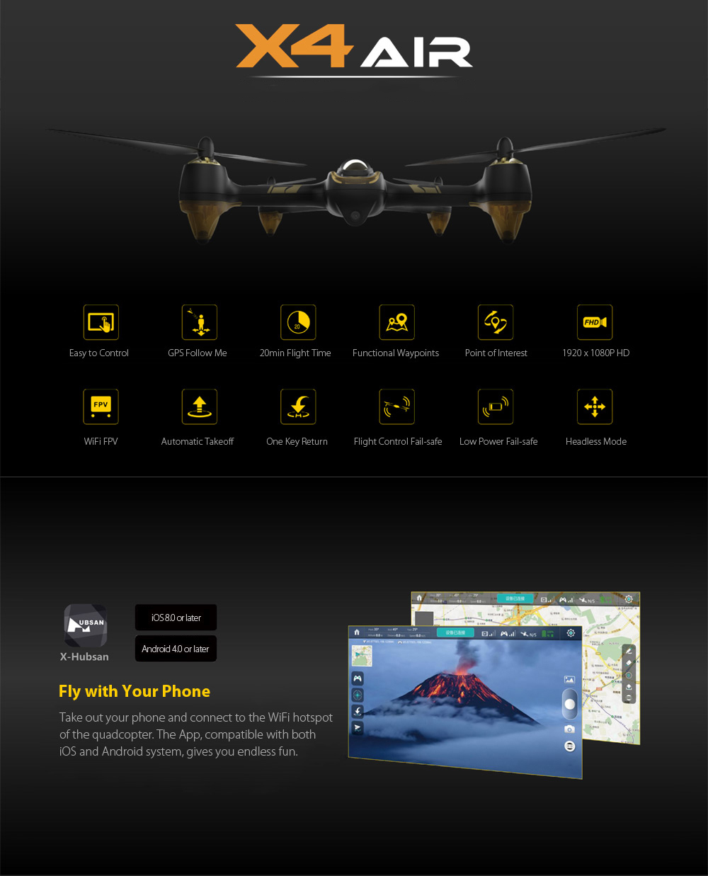 HUBSAN X4 AIR H501A RC Drone BNF WiFi FPV 1080P HD / Point of Interest / GPS Follow Me