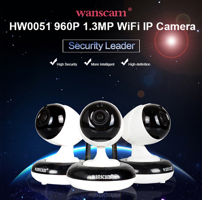 WANSCAM HW0051 960P Pan Tilt 1.3MP Wireless IP Camera 85 Degree FOV Night Vision IR-cut