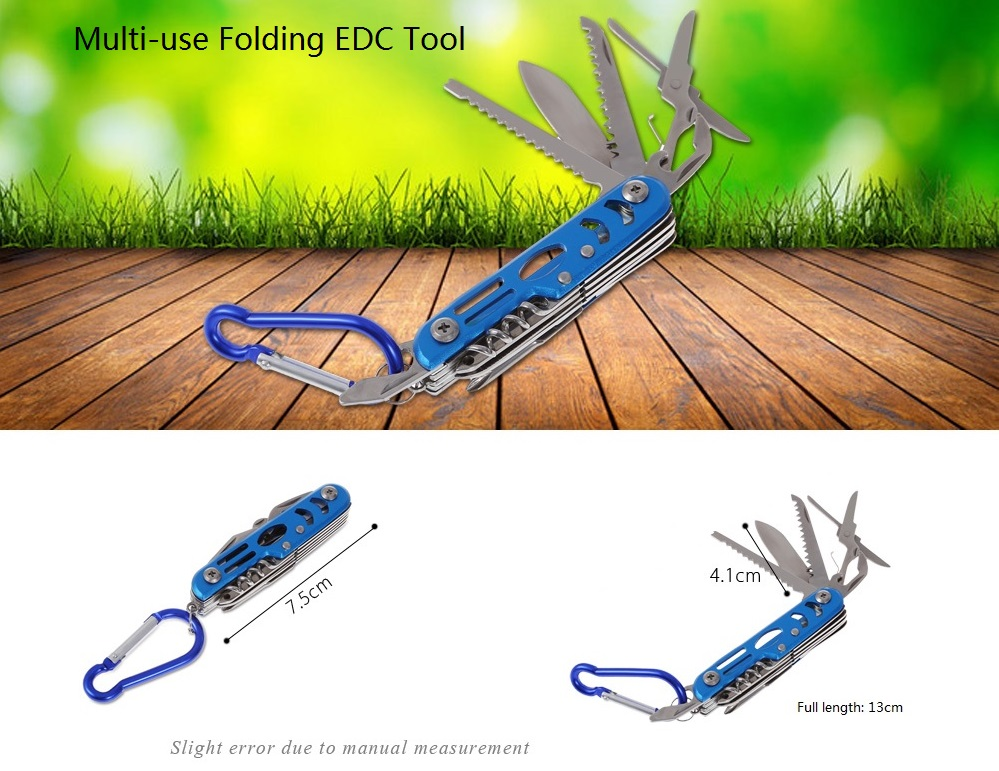 420 Stainless Steel Multifunctional Folding EDC Tool Knife / Saw / Scissors / Bottle Opener with Keychain