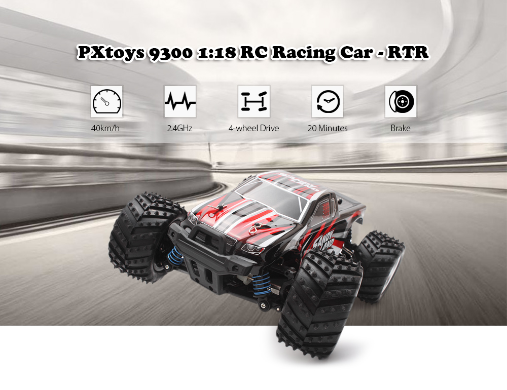PXtoys 9300 1:18 4WD RC Racing Car RTR 40km/h / 2.4GHz Full Proportional Control / Brake