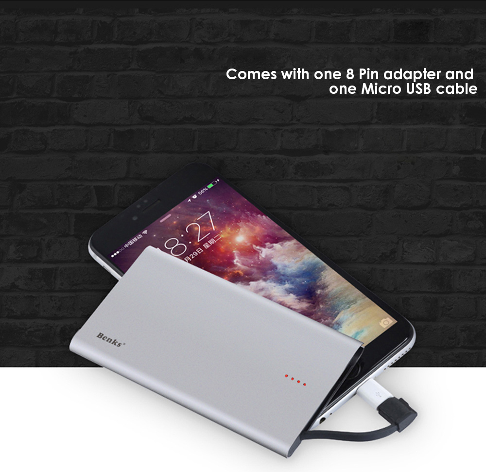 Benks E400A Ultra-thin 4000mAh Mobile Power Bank Built-in Micro USB Cable