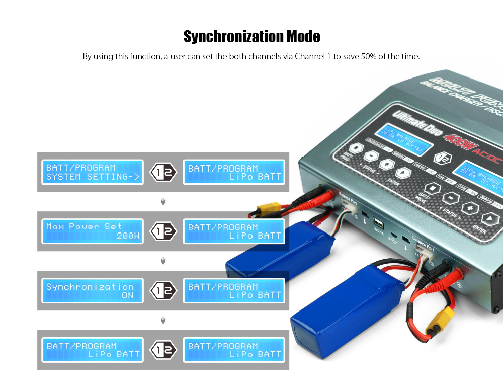 SKYRC D400 400W AC / DC Multi-functional Balance Charger Discharger / Power Supply / Synchronization Mode