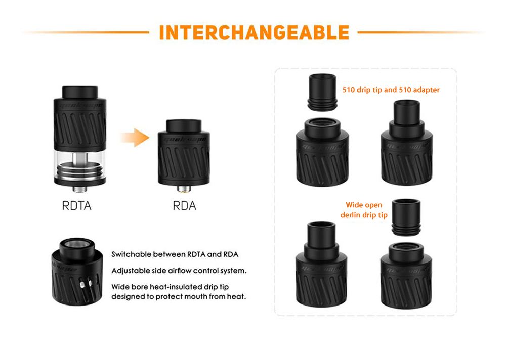 Original GeekVape Karma Kit with Copper Construction / Supporting 1pc 18650 Battery / Adjustable Side Airflow / 5ml Capacity RTDA / RDA for E Cigarette