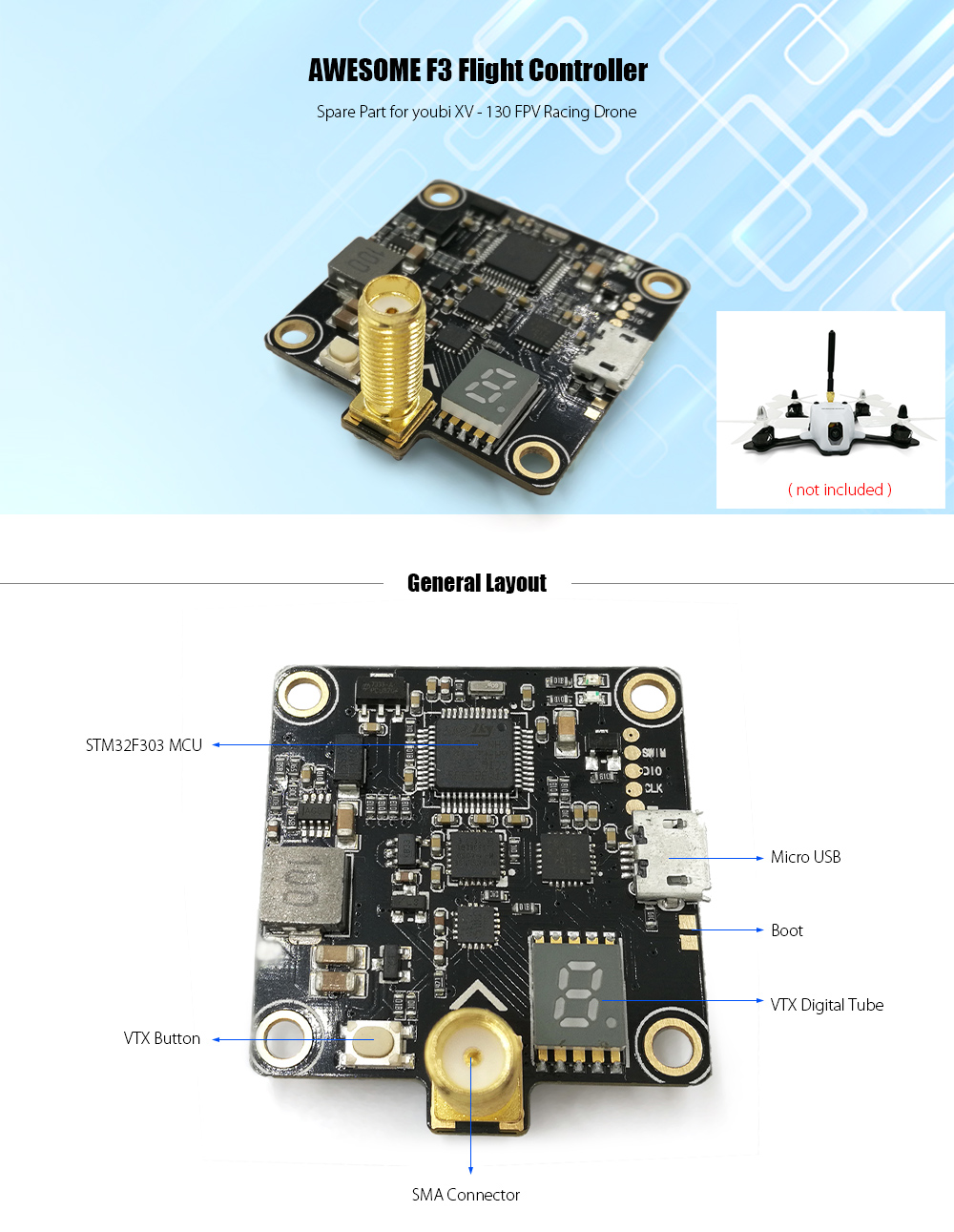AWESOME F3 Flight Controller with 5.8G 40CH 25mW / 200mW / 400mW Video Transmitter for youbi XV - 130