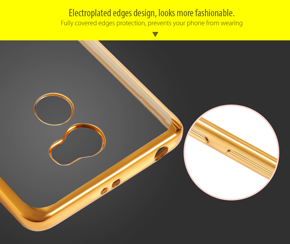 ASLING TPU Soft Protective Phone Case for Xiaomi Redmi 4 High Version Electroplated Edge Transparent Shell